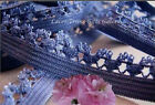 """12 Yards Blue 1/2"""" Fancy Edge Elastic Lace Trim N09V Buy More-Ship No Charge"""