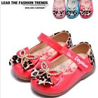 Korean Kids Leopard bowknot leather face baby girls shoes #2218