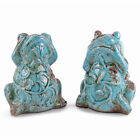 Weathered Finish Turquoise Terracotta Floral Glazed Frog Home Ornament 2 Designs