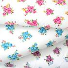 DORA - SMALL WHITE  FLORAL POLY COTTON FABRIC crafts pink blue MAUVE