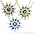 Evil Eye Bead Mayan Sun Charm Greek Turkish Nazar Hamsa Sterling Silver Necklace