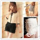 Newly Stylish Ladies Sweet Cute Crochet Tiered Lace Shorts Skorts Short Pants