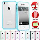 CLEAR HARD BACK SILICON TPU BUMPER COVER CASE FOR iPHONE 4G 4S FREE SCREEN GUARD