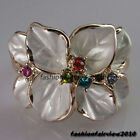 New Rose Gold GP Colorful Crystals 8 Leaf Flower Cocktail Ring IR007A
