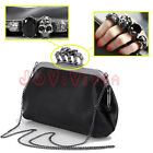 Women's Ladies Party Fashion PU Skull Rings Crystal Clutch Shoulder Bag Handbag