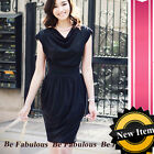 Black Slouchy High Waist Tulip Mini Dress M-L-XL-1X-2X