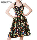 HELL BUNNY 50s DRESS Tropical SASSY BLACK Vintage Rockabilly Pin Up All Sizes