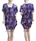 Coral Blue Purple Drape Dress w Paisley/Flower Print Short One Size to fit 10-16