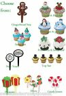Cupcake Cake picks Christmas Gingerbread men, Presents, Elf, snowflake, tree
