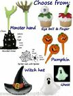 Cupcake picks Halloween Eyeball, Witch finger, hat, Monster hand Boo pumpkin
