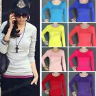 Sexy Lady' Junior Plain Basic Round Neck Cotton Top Long-Sleeve T-Shirt 15 Color