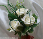 Wedding Prom Ascot Triple Rose & Foliage Corsage Ladies Buttonhole - Any colour