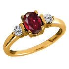 1.15 Ct Oval Ruby Red Mystic Topaz and Diamond Gold Plated Silver Ring