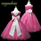 USMD59A Hot Pink + Pink *Floor-Length* Wedding Flower Girls Dress 1 to 13 Yrs
