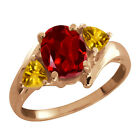 1.80 Ct Oval Red Garnet and Citrine Gold Plated Sterling Silver Ring