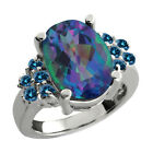 4.48 Ct Oval Millenium Blue Mystic Quartz Blue Diamond Sterling Silver Ring