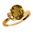 2.31 Ct Oval Whiskey Quartz Topaz Yellow Gold Plated Sterling Silver Ring