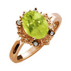 1.67 Ct Oval Yellow Lemon Quartz and Topaz Rose Gold Plated Silver Ring
