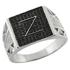 1.00 Ct Men's 925 Sterling Silver Initial Z Ring W/White Black Cubic Zirconia CZ