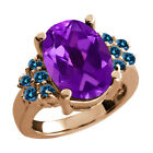 4.93 Ct Oval Purple Amethyst Blue Diamond Rose Gold Plated Sterling Silver Ring