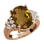 4.70 Ct Oval Whiskey Quartz White Topaz Rose Gold Plated Sterling Silver Ring