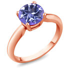 2.40 Ct Round Tanzanite Blue Mystic Topaz Rose Gold Plated Sterling Silver Ring