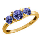 1.06 Ct Round Blue Tanzanite Gemstone Gold Plated Sterling Silver Ring