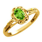 0.51 Ct Oval Green Peridot Canary Diamond Yellow Gold Plated Silver Ring
