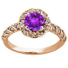 1.73 Ct Round Purple Amethyst 925 Rose Gold Plated Silver Ring