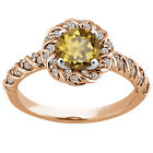 1.68 Ct Round Whiskey Quartz 925 Rose Gold Plated Silver Ring
