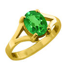 1.00 Ct 7X5 Oval Cut Green Topaz Yellow Gold Ring
