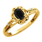 0.40 Ct Oval Black Onyx White Topaz Yellow Gold Plated Sterling Silver Ring