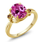 3.27 Ct Pink Created Sapphire Garnet Gold Plated 925 Silver Ring