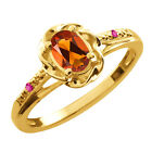 0.42 Ct Oval Orange Red Madeira Citrine Pink Sapphire Gold Plated Silver Ring