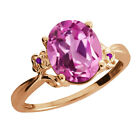 2.93 Ct Light Pink Created Sapphire Amethyst Rose Gold Plated 925 Silver Ring