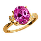 3.27 Ct Oval Pink Created Sapphire Yellow Gold Plated Sterling Silver Ring