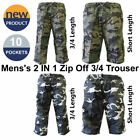 2 in 1 Camo 3/4 Zip Off Shorts 10 Pockets Combat Trouser Cargo Pants Elasticated
