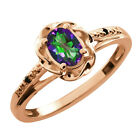 0.56 Ct Oval Green Mystic Topaz Black Diamond Gold Plated Sterling Silver Ring