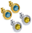 2.00 Ct Round Canary Or Blue Topaz Stud Earrings 6mm