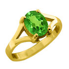 0.80 CT 7x5 Oval Green Peridot Yellow Gold Ring New