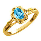 0.56 Ct Oval Swiss Blue Topaz Canary Diamond Gold Plated Sterling Silver Ring