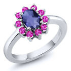1.15 Ct Oval Checkerboard Iolite Pink Sapphire 925 Silver Ring