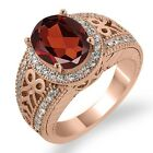 3.33 Ct Oval Red Garnet White Diamond Rose Gold Plated Sterling Silver Ring