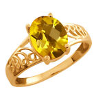 1.60 Ct Checkerboard Citrine Gold Plated Sterling Silver Ring