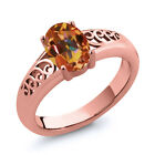 0.95 Ct Oval Ecstasy Mystic Topaz Gold Plated Sterling Silver Ring