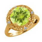 3.54 Ct Round Lemon Quartz and Diamond Gold Plated Silver Ring
