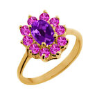 1.25 Ct Oval Purple Amethyst Pink Sapphire Gold Plated Sterling Silver Ring