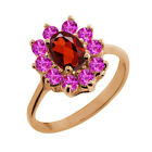 1.40 Ct Oval Red Garnet Pink Sapphire Rose Gold Plated Sterling Silver Ring