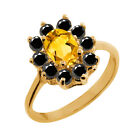 0.93 Ct Oval Yellow Citrine Black Diamond Yellow Gold Plated Silver Ring