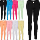 Ladies Coloured Soft Womens Zip Up Skinny Leg Jeggings Jeans Trousers Size 8-16